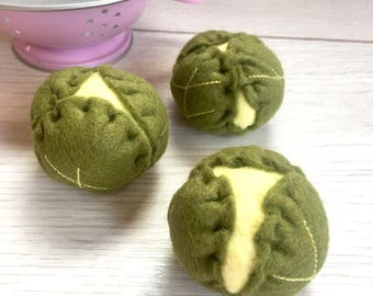 Pretend Play Felt Food Brussel Sprouts - Set of Three