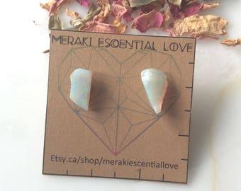 Raw Australian Opal Earring Studs. Boho Jewelry. Boho Earrings. October Birthstone.