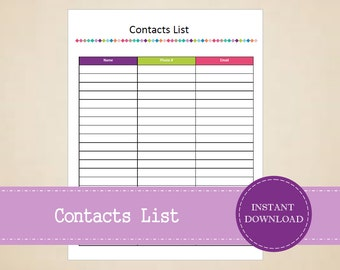 Contacts List - Business Planner - Home Organizer - Printable and Editable - INSTANT PDF DOWNLOAD