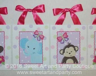 Girl Jungle Nursery, Hand Painted, Nursery Wall Art, Girls Wall art, Art for Girls Room, Girls nursery art, giraffe, zebra, monkey, elephant