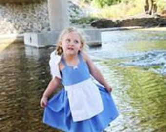kids BELLE Provincial dress, blue Belle dress, Blue Belle costume , toddler dress, summer dress, practical dress, comfortable dress