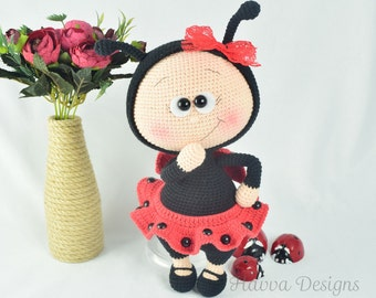 Crochet Pattern - Bonnie With Ladybug Costume (Amigurumi Doll Pattern)