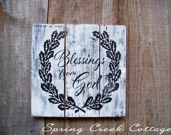 Wood Signs, Blessings From God, Signs, Plank Signs, Home & Living, Inspirational Sayings, Handpainted, Home Decor, Farmhouse, Rustic