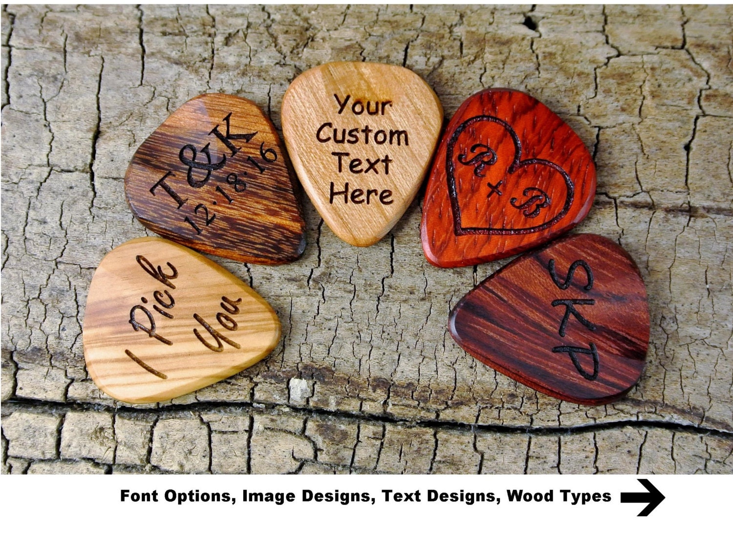 one custom engraved wooden guitar pick choose wood type and. Black Bedroom Furniture Sets. Home Design Ideas