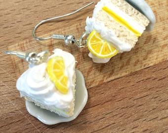 Lemon Citrus Vanilla Cake Slice Earrings