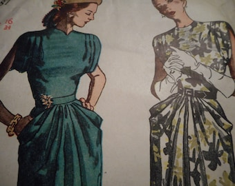 Vintage 1940's Simplicity 2087 Dress Sewing Pattern Size 16 Bust 34