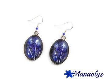 Earrings oval motifs and blue flowers, dandelion, 3189 glass cabochons