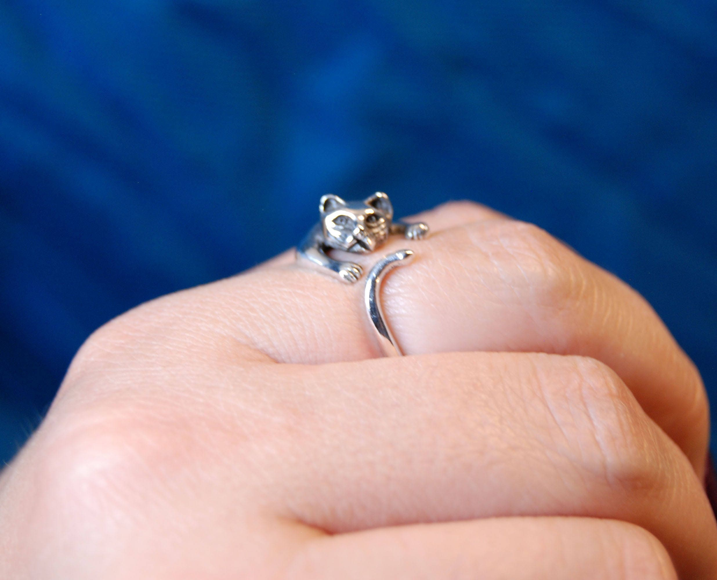 Kitty Cat Wrap Ring With Front Paws and Tail Vintage Silver