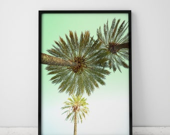 Coastal Decor Coastal Art Palm Tree Print Coastal Prints Palm Tree Wall Art Prints Tropical Art Print Coastal Wall Art Mint Green Decor