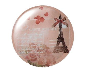 Set of 2 cabochon 25mm round glass Eiffel Tower