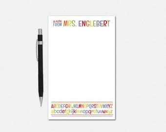 Personalized Teacher Notepad - Alphabet Rainbow Notepad - Personalized Notepad for Teachers - Teacher Stationery - Stationery for Teachers