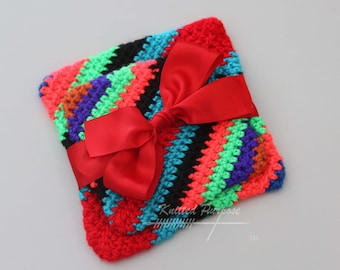 Red Tribal Crotchet Potholder Set