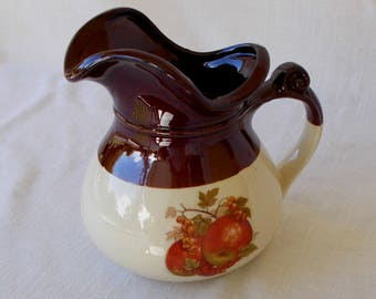 McCoy Stoneware Pitcher With Apples, Vintage