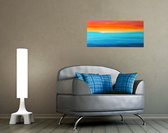 Abstract acrylic painting 80x40cm original paintings unique contemporary art horizon water sunset picture