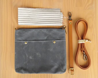 Waxed Canvas Crossbody Bag in Grey with Vintage Style Ticking Lining and Leather Strap, Small Waxed Canvas Clutch Purse Handmade in the USA