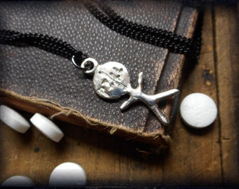 pillhead. Cast solid Sterling Silver Pill Head ( Pill Popper) stick figure charm. Great gag gift idea..