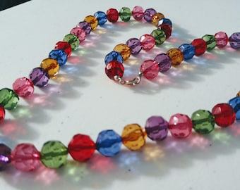 Vintage Faceted Lucite Bead Fruit Salad Necklace
