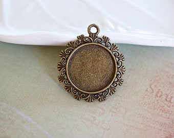 Ornate Round Bezel Pendant, Cabochon Bezel Setting, 34x29mm, Brass Finish, 1 Piece