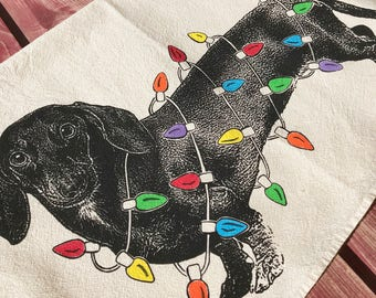 Dachshund Christmas Towel, dachshund Holiday Decoration, Doxie Christmas - Hand Printed Flour Sack Tea Towel, Dish Towel