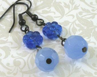 Ice Flower Blue Dangle Earrings