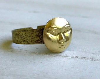 Man In The Moon Ring, Moon Ring, Full Moon Ring,  Face Ring, Brass Moon Ring,  It's a Wonderful Life, Woman's gifts, Valentines Day, Teens
