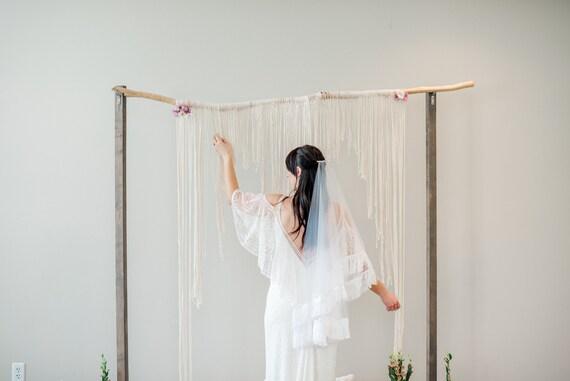 Drop Veil, Hip Length Blusher Veil, Wedding Veil, Fringe Veil, Fringe Trim, Boho Veil, Bohemian Veil, Double Layered Veil HARLOW