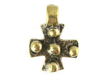 Bronze Studded Cross Artisan Charm Pendant (SBC-24)