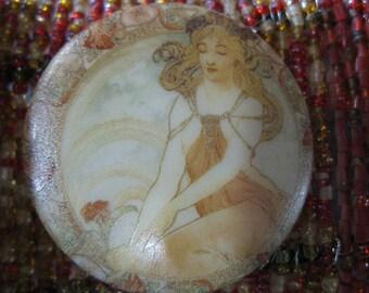 Alphonse Mucha Art Nouveau Daydreaming Damsel Czech Glass Button 42mm