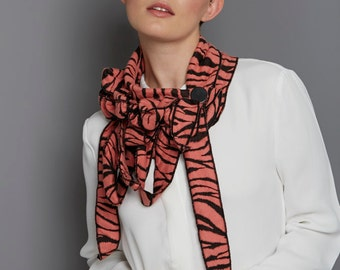 Collette - Tangerine Animal Print Button on Scarf