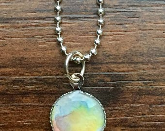 "Watercolor pendant necklace. Warm tones, multicolor. 10MM size, 18"" chain"