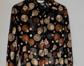 Vintage black & brown blouse, space circles and flowers details.