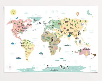 World map for kids etsy animal world map poster 50 x 70 cm map for kids nursery print gumiabroncs Image collections