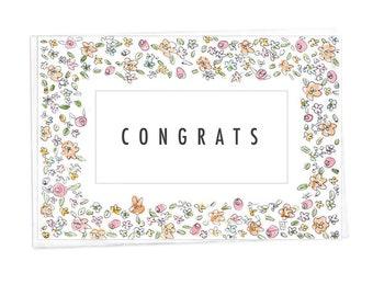 Congrats - 5 x 7 - Wedding Congratulations Card -Horizonal