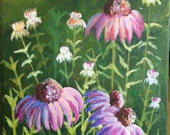 Wild Flowers, Acrylic on Canvas 20x15 cm,