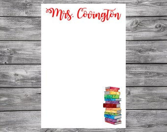 Colorful Tall Books- 4x6 Personalized Teacher Notepad- Personalized Teacher Gifts