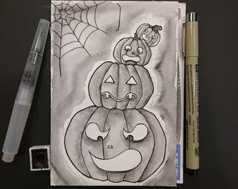 "Drawlloween original art ""Pumbkin"" (postcard)"