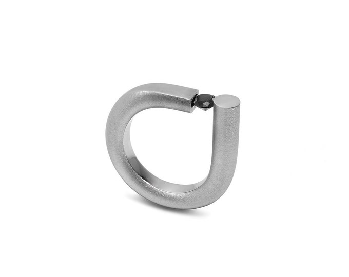Black Diamond Ring Tension Set Design Stainless Steel