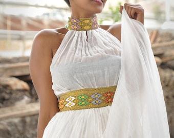 High neck dress/ Ethiopian dress/ High collar dress/ Organic cotton dress/ Flowy dress/ Ankara maxi dress/ African maxi dress