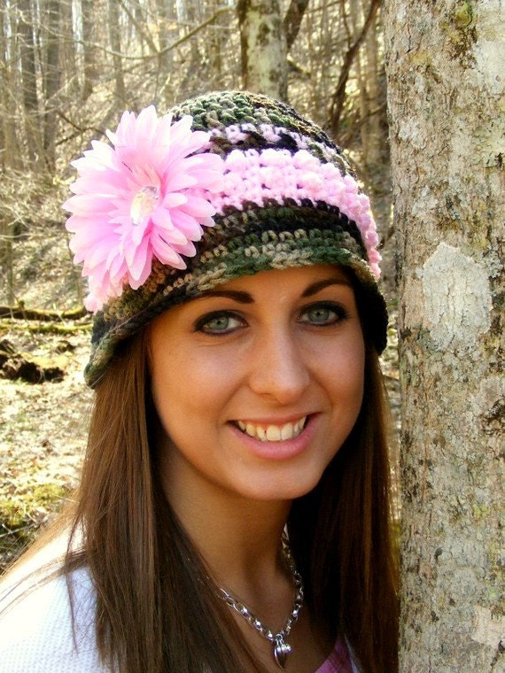 Crochet Hat Pattern Camo And Pink Bucket Hat 12mo Adult