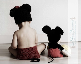 2 in 1 Mouse Diaper Cover Set- Great Photography Prop