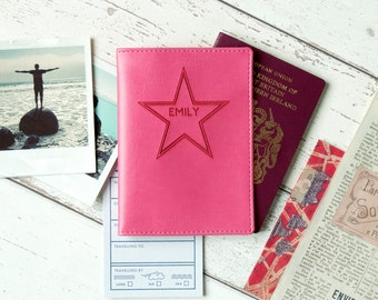 Name in Stars Passport Holder|Personalised PU leather. Personalized passport cover for him her Father's Mother's students travel lover gift