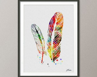 Feather poster, feather print, feather wall decor, feather art, feather painting, feather watercolor, watercolor feather, watercolor  -A085