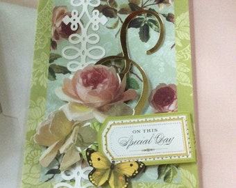 25%offJuneSale 10 for 25 free ship Gorgeous 3D Anniversary Greeting Card featurng Creamy Roses and Butterfly blank inside on your special da