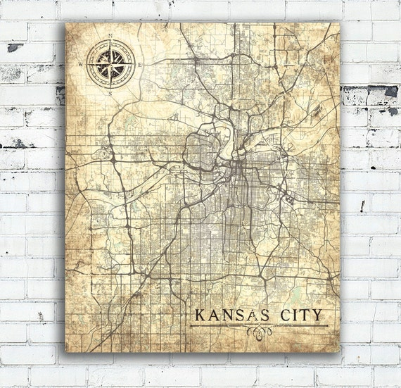 KANSAS City MO Canvas Print Missouri Vintage map Kansas City