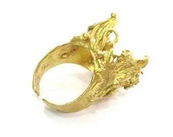 Raw Brass Adjustable Ring (18mm Blank), Bezel Settings,Cabochon Base,Mountings G3251