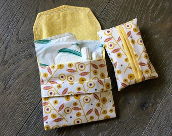 Sanitary towel holder, Craft pouch, tissue holder, tampon pouch, discreet feminine pouch, sanitary pouch, handmade pouch, Tena lady pouch