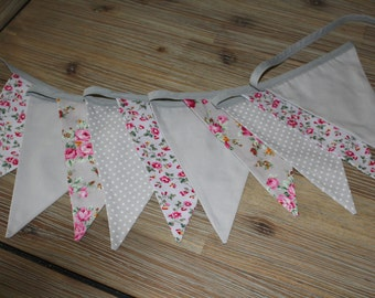 Pink & Grey Floral bunting