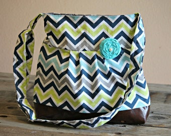 Conceal Carry Purse, Medium Messenger Bag, Blue Chevron, Conceal Carry Handbag, Concealed Carry Purse, Conceal and Carry, Seahawks, Green