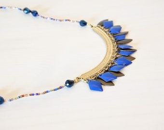 Crew neck, electric, royal blue diamond connector carved Vintage beads Japanese Delica, Midnight Blue faceted drops