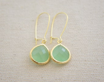 mint green gold earrings - kidney ear wire, bridal, wedding, gift